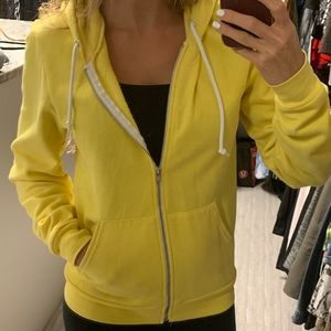 American Apparel yellow zip up hoodie